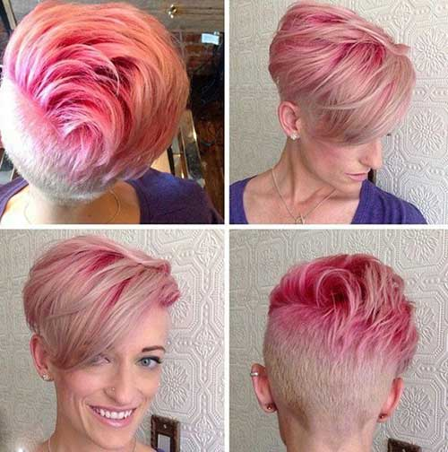 Cabelo Loiro Curto com rosa Highlights