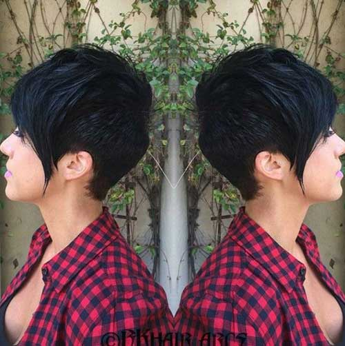 Long Pixie corte de cabelo de espessura cabelo- 17