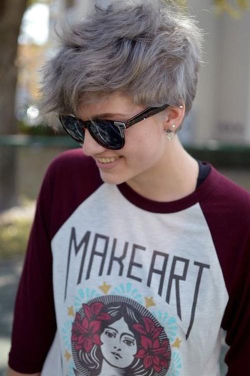 Styles-8 Curto cabelo cinzento