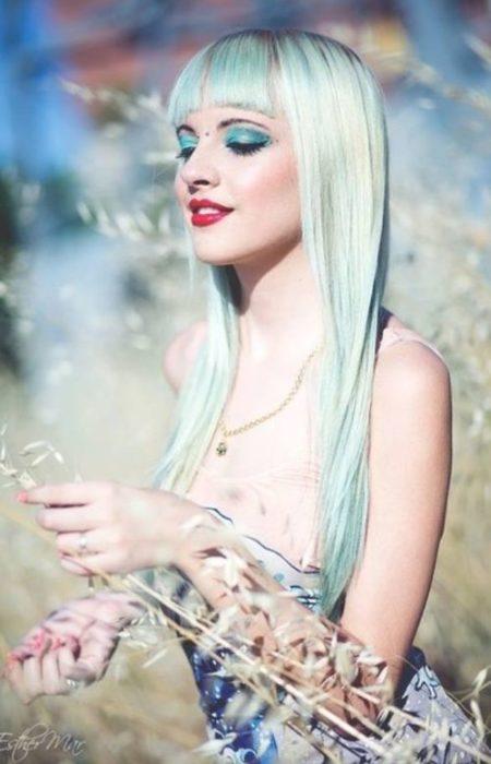 azul pastel de cabelo verde