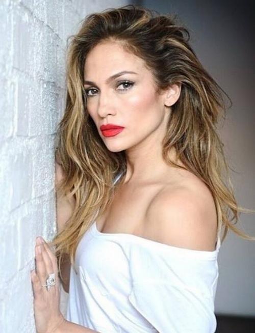 2017 Jennifer Lopez Confuso Longo de Dois Tons Cortes de cabelo