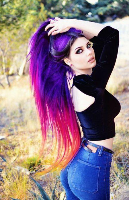 Roxo e cor-de-Rosa Ombre Hair