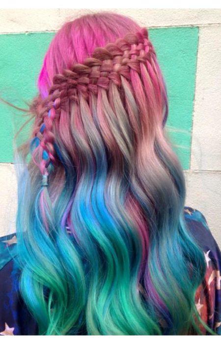 arco-íris cachoeira tranças