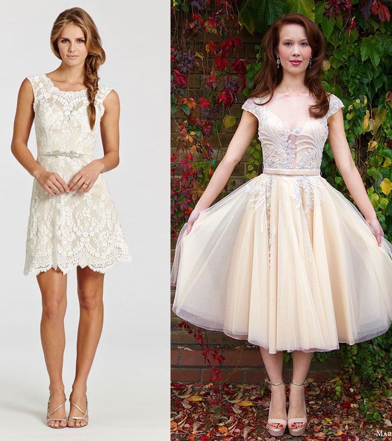 Vintage Vestidos de Noiva Curtos de 2018