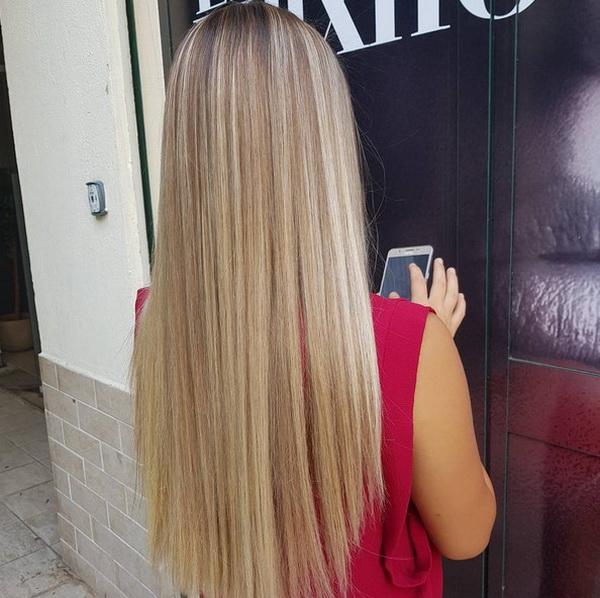 Blunt Reta em Camadas Longo Cortes de cabelo