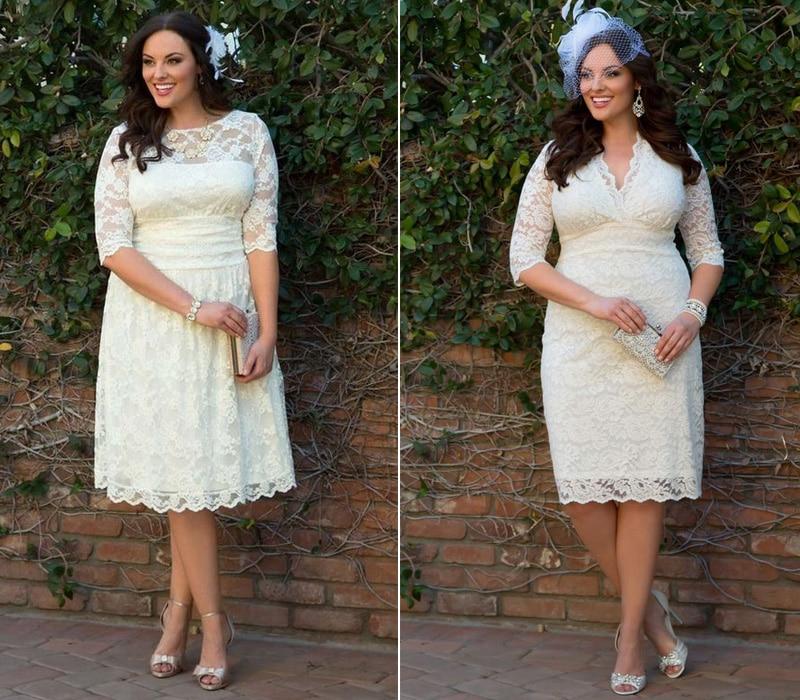 Plus Size Vestidos de Noiva Curtos com Mangas