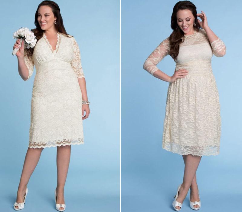 Vintage Plus Size Vestidos de Noiva Curtos