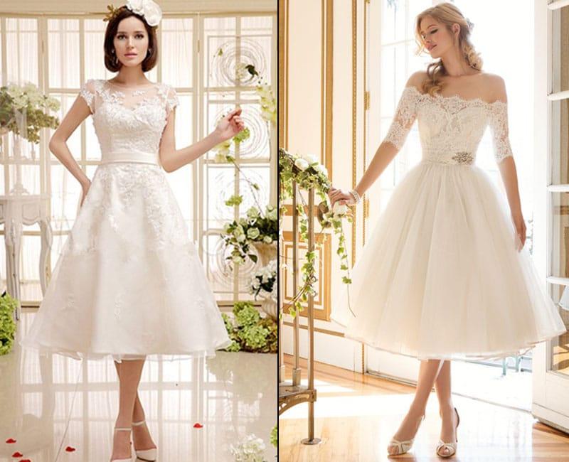 Chá de Comprimento Curto Vestido de Casamento Branco de 2018