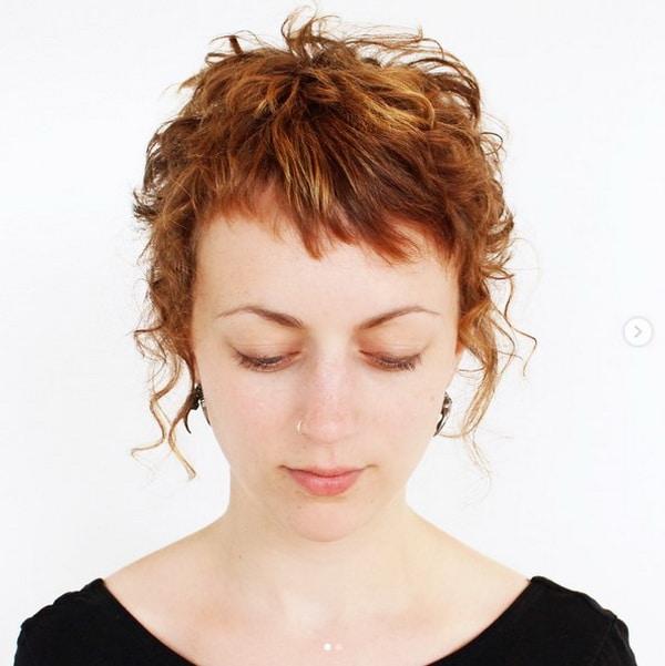 Bagunçado Pixie Encaracolado Cortes de cabelo com Franja Curta
