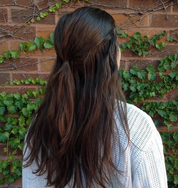 Bagunçado Escola Longo Preto Penteados com Camadas