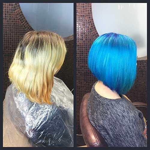 Popular e estilo agradável para cabelo curto azul