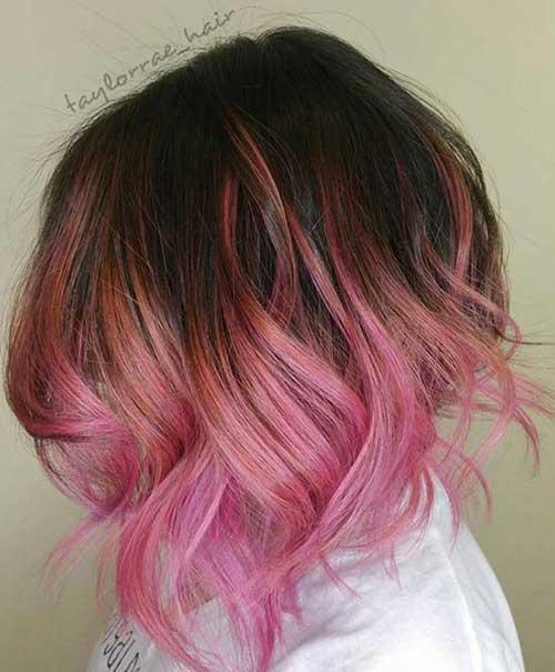 cor-de-Rosa Curto Penteados-8