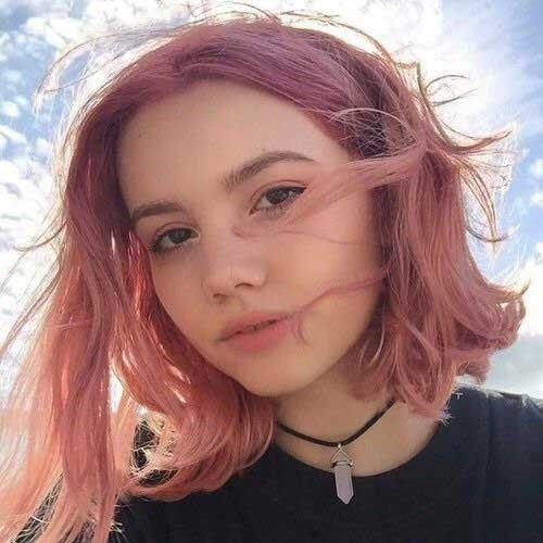 cor-de-Rosa Curto Penteados para as Mulheres