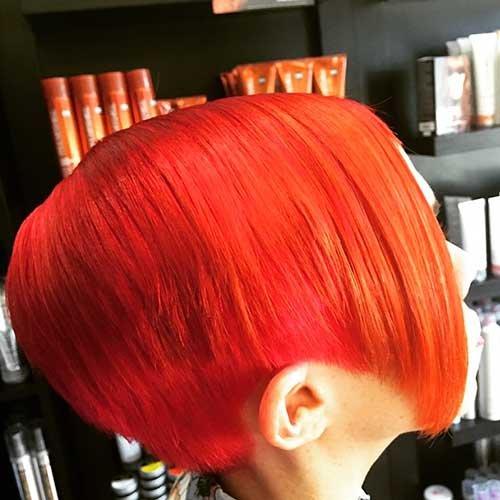 Fantástico Curto Vermelho Ombre Penteado