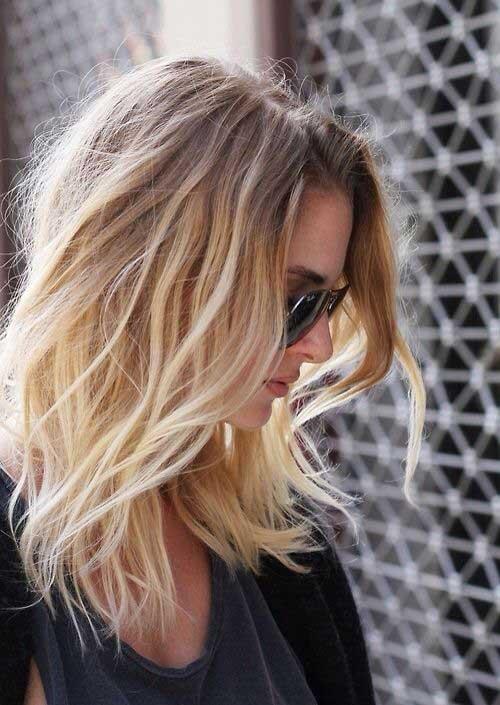 Inverno chique corte de cabelo de comprimento médio