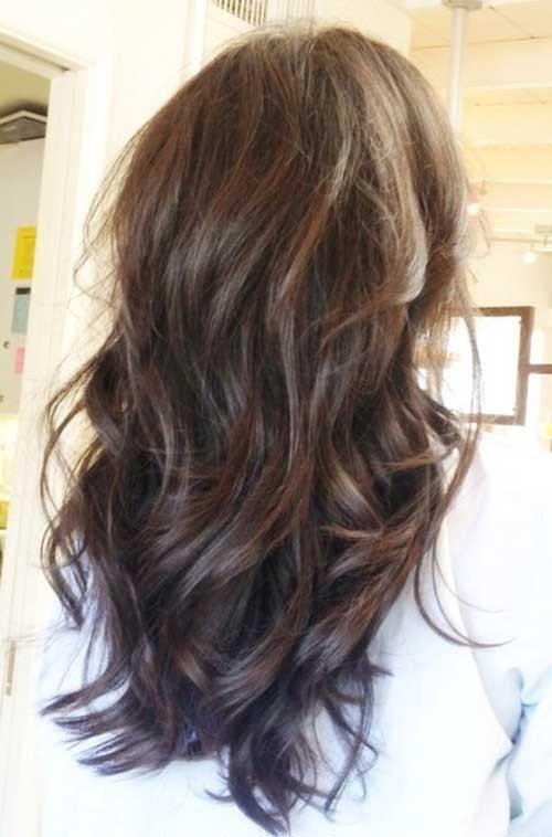 Longo Corte de cabelo em Camadas com Franja