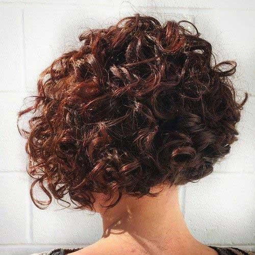 Vista posterior do Bob Corte de cabelo para Cabelos Cacheados