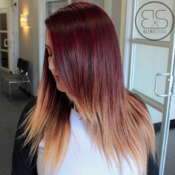 Tendências de cabelo vermelho quente Ombre para meninas