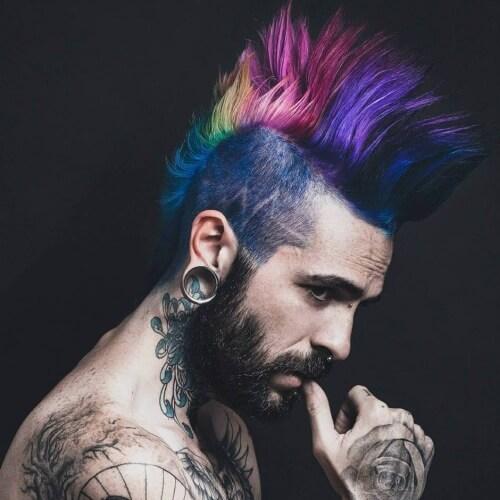 Penteados Mohawk Multicolor para Homens