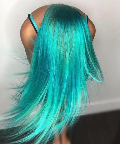 cor de cabelo brilhante sereia teal