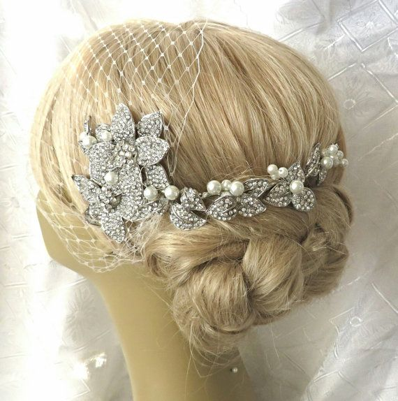 Swarovski Pearl Headpiece Pente Para O Cabelo De Noiva