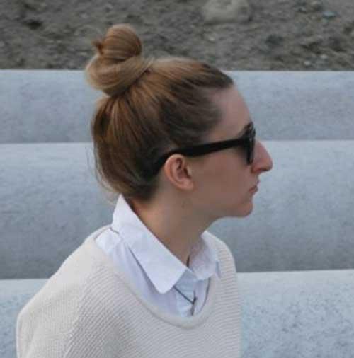 Roupas incríveis Bun espasmódico com cabelo curto