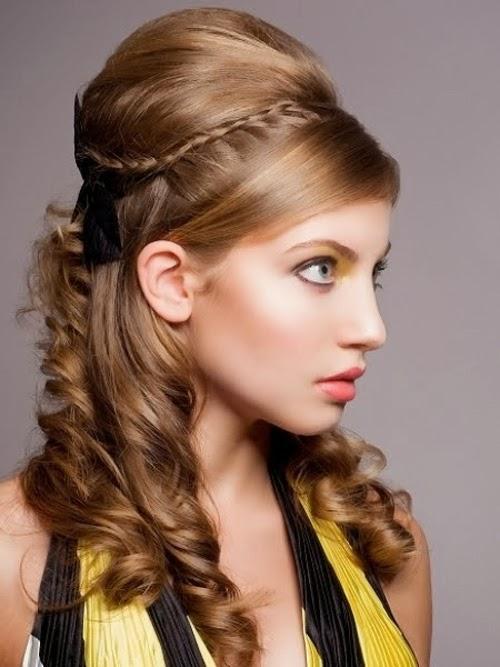 Estilo de cabelo mais recente festa elegante para cabelos longos
