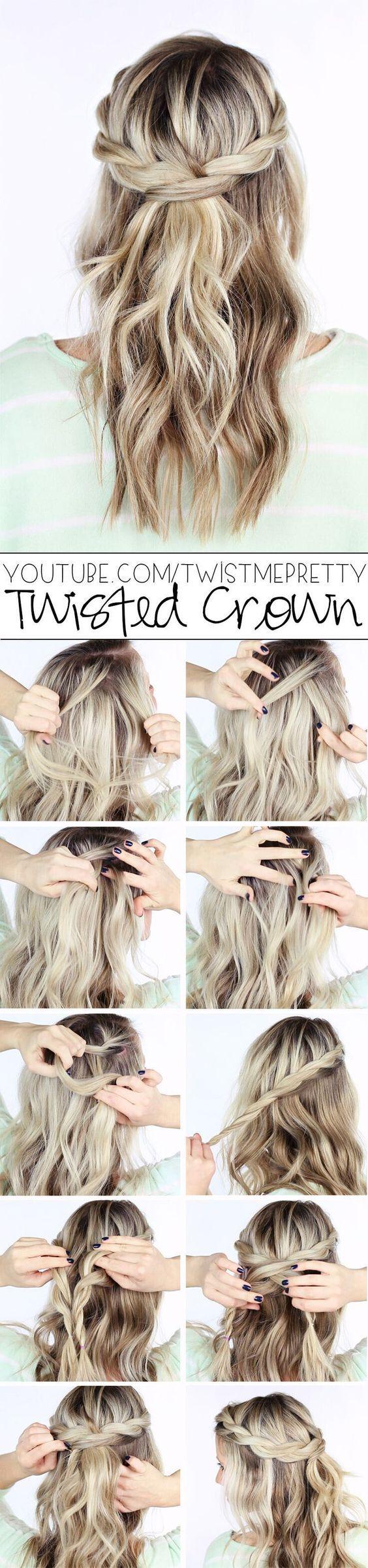 Metade simples e para baixo penteados de maneiras diferentes