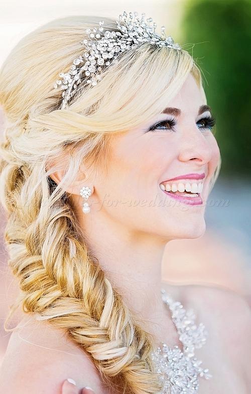 Headpieces nupcial bonito com cabelos encaracolados