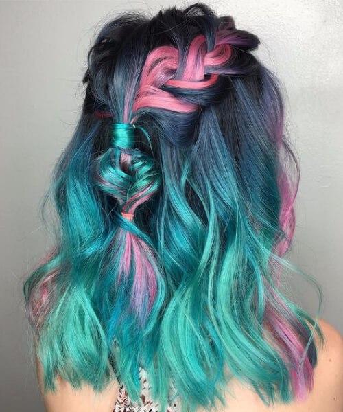 cor do cabelo da cerceta do unicórnio