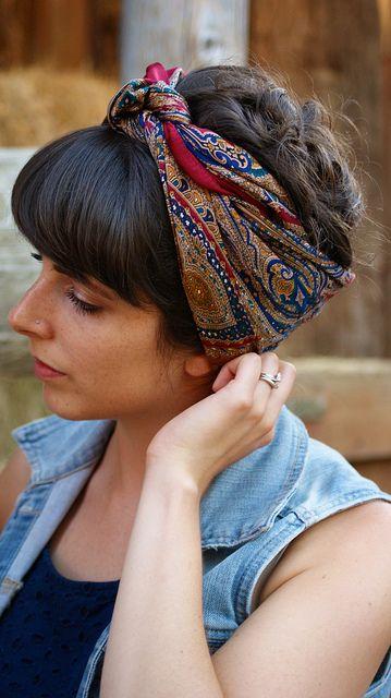 Tendência mais recente para amarrar bandana com estilos de cabelo elegante