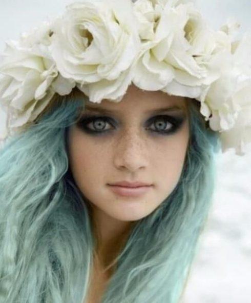 cor meridional do cabelo da cerceta da sereia pequena
