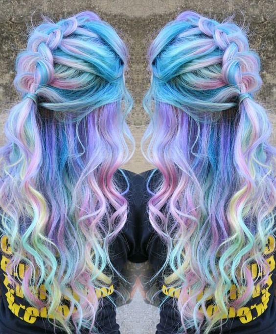 Idéias de penteado funky elegante sereia azul