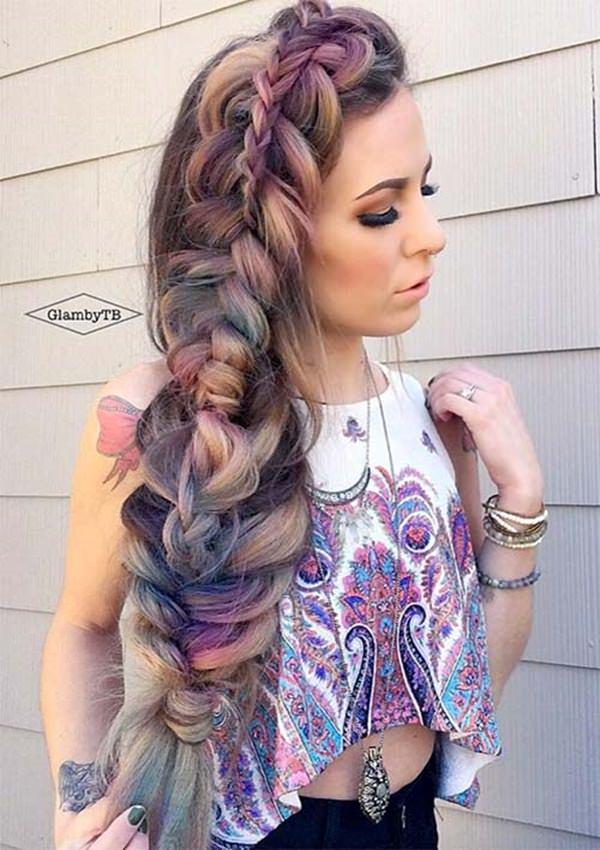 87 penteados de trança de lado bonito e elegante