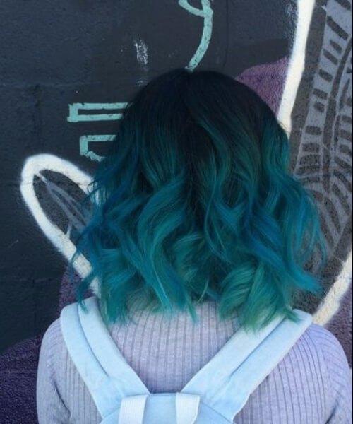 ondulado bob teal cabelo cor