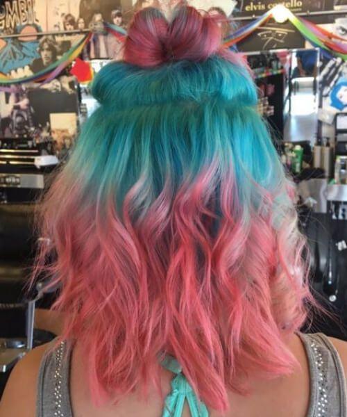 melancia cabelo teal cabelo cor