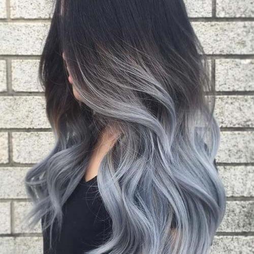 Tendência nova da cor do cabelo de Ombre do cinza do estilo para cabelos escuros