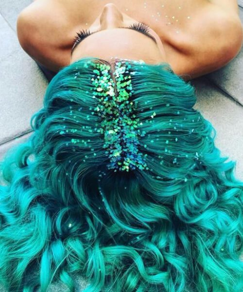 Raiz de glitter cor de cabelo de teal