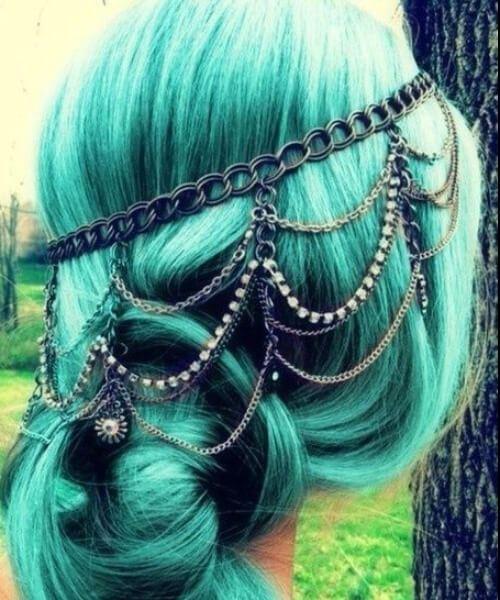 jóias de cabelo teal cabelo cor