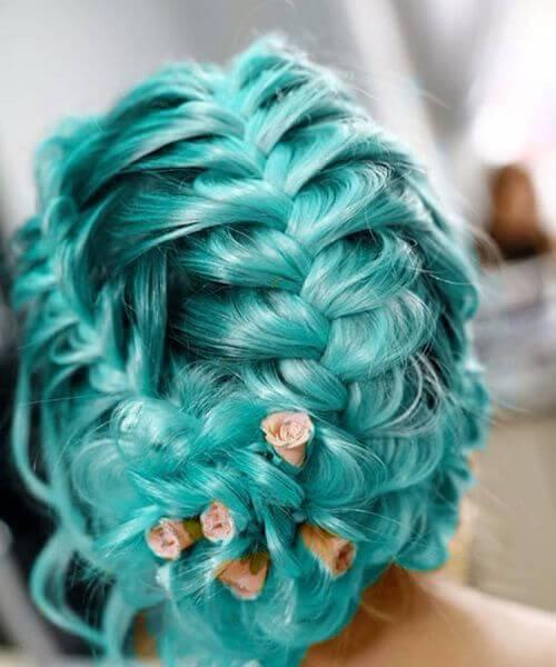 cor do cabelo da cerceta do casamento