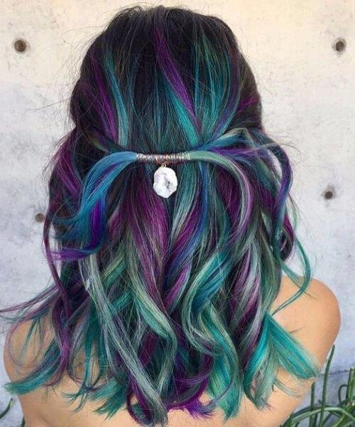 pavão teal cabelo cor