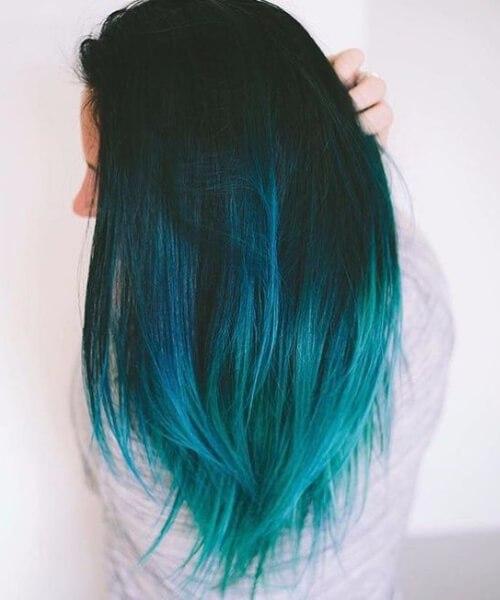 frio ombre azul teal cabelo cor
