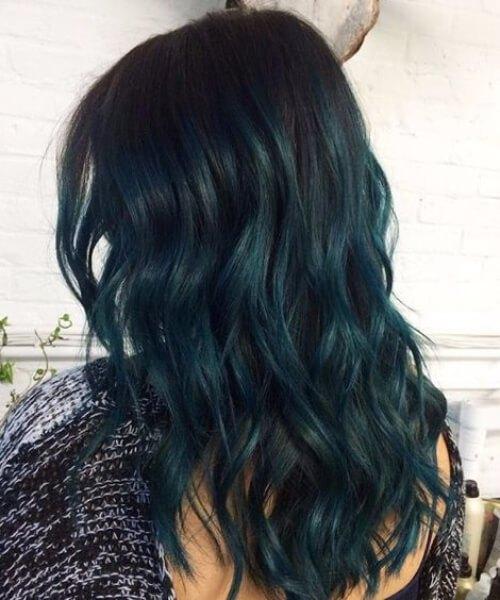 cor de cabelo escuro verde oceano teal