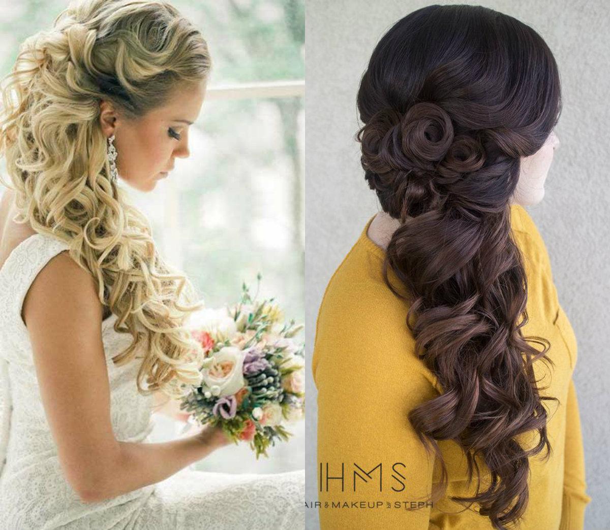 Escolha elegante de metade e metade penteados de casamento para noivas
