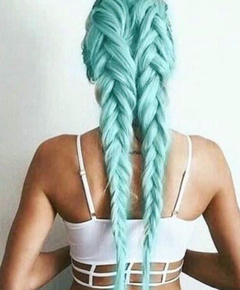cor de cabelo duplo francês verde-azulado