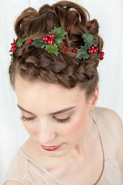 Penteado de festa de Natal para meninas