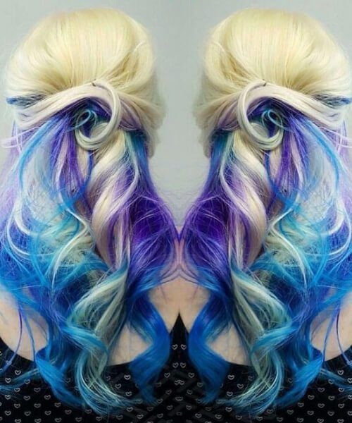 Cabelo de sereia azul roxo loira