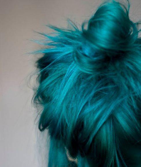 cor de cabelo bagunçado teal teal