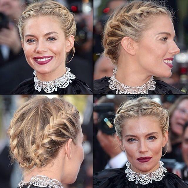 Celebridades de Hollywood na cerimônia do tapete vermelho com cabelo trançado