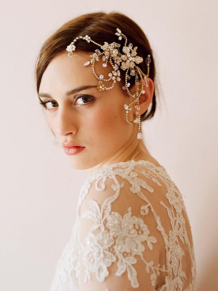 Pente de cabelo embelezado com pérolas para Bridals